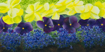 Pansies and Lobelia - painting
