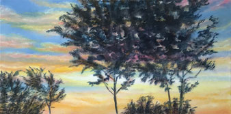 Backyard Sunset - painting