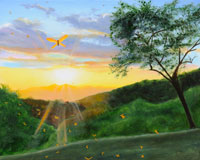 Dragonfly Sunset - painting